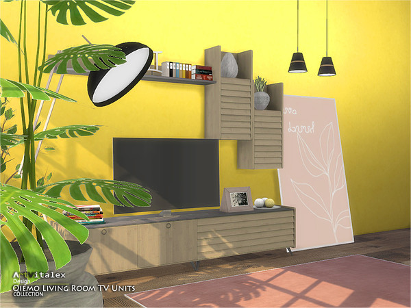 Qiemo Living Room TV Units by ArtVitalex at TSR image 632 Sims 4 Updates