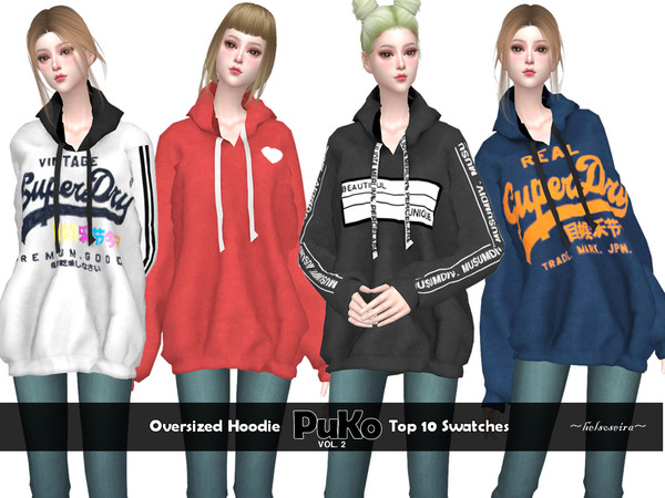 Sims 4 PUKO Vol.2 Oversized Hoodie by Helsoseira at TSR