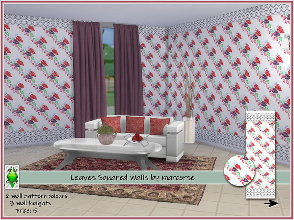 Sims 4 Leaves Squared Walls by marcorse at TSR