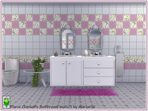 Sims 4 Floral Checkers Bathroom Walls by marcorse at TSR