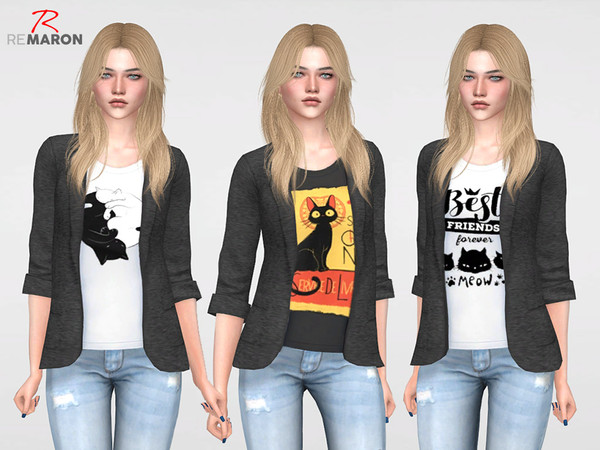 Sims 4 Cat Lover Suits for Women by remaron at TSR
