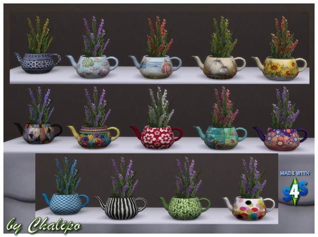 Sims 4 Teapot plant recolors by Chalipo at All 4 Sims