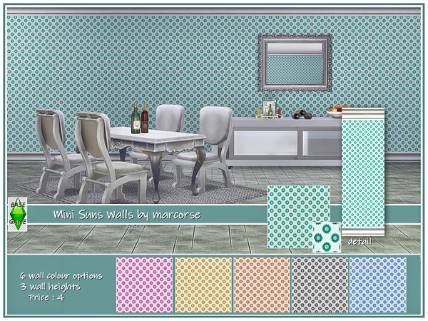 Sims 4 Mini Suns Walls by marcorse at TSR