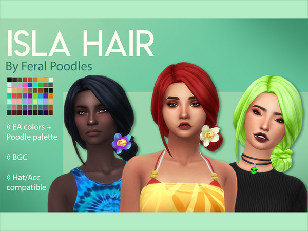 Sims 4 Isla Hair by feralpoodles at TSR