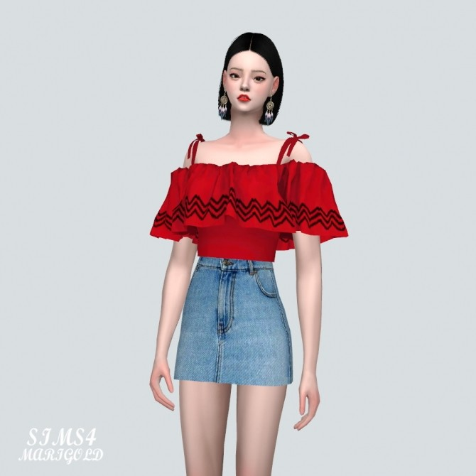 Off Shoulder Blouse at Marigold image 8216 670x670 Sims 4 Updates