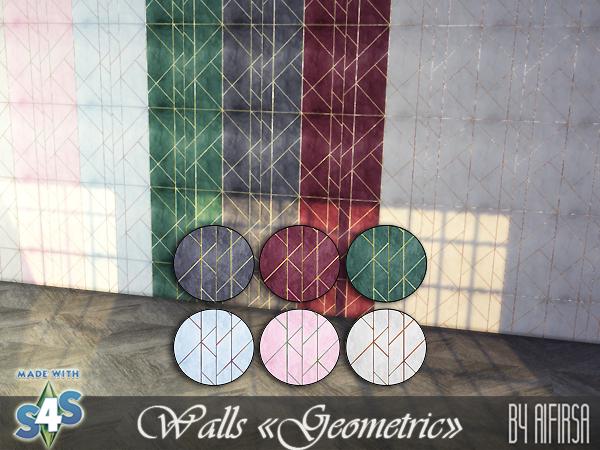 Sims 4 Geometric walls at Aifirsa