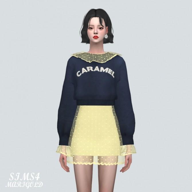 Sims 4 Dot See Through Collar Sweatshirt Mini Dress at Marigold
