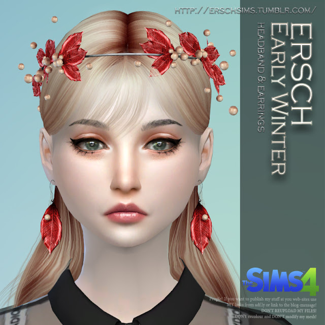Sims 4 Early Winter Set: headband and earrings at ErSch Sims