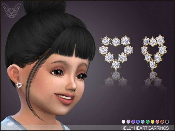Sims 4 kelly heart earrings for Toddlers at Giulietta