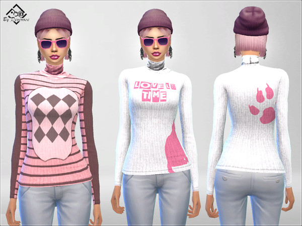 Sims 4 Pink Pullover by Devirose at TSR
