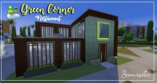 Sims 4 Green corner restaurant by Samasita at L'UniverSims