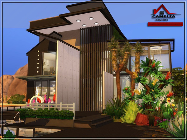 CAMELIA modern house NO CC by marychabb at TSR image 1030 Sims 4 Updates