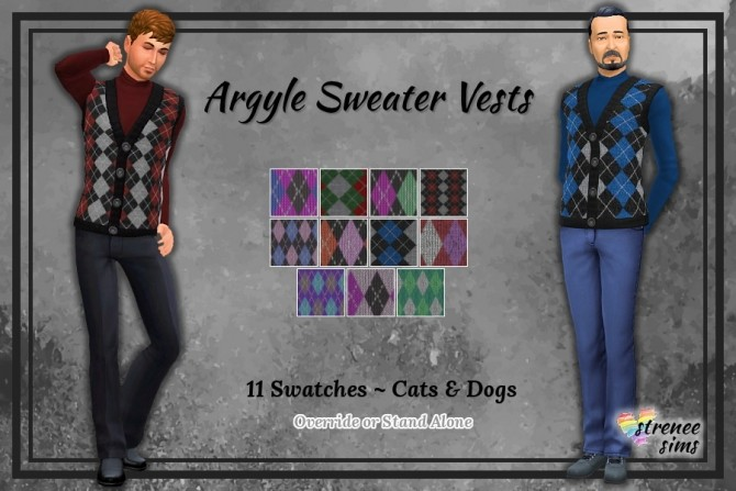 Sims 4 Cats & Dogs Men's Sweater Vests at Strenee Sims