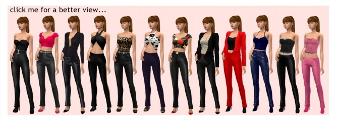 Sims 4 BG LEATHER PANTS & TOP at Sims4Sue