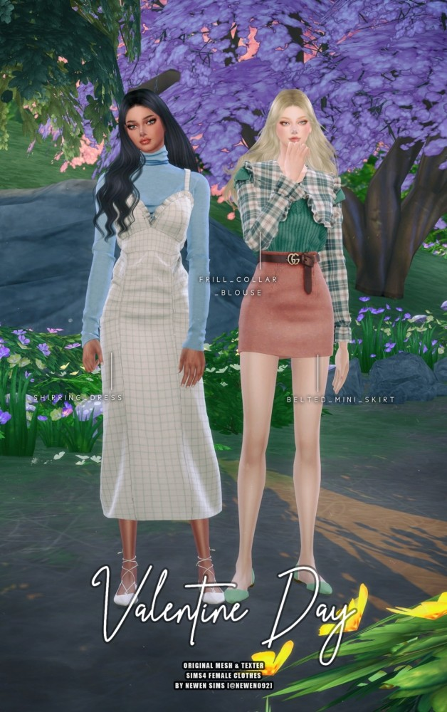 Frill Collar Blouse + Belted Mini Skirt + Shirring Dress at NEWEN image 11013 628x1000 Sims 4 Updates