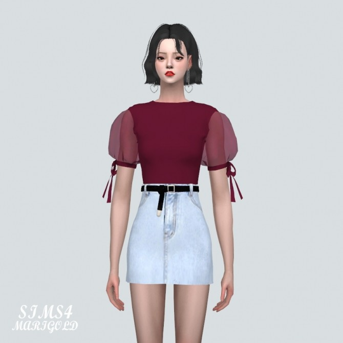 See through Puff Sleeves Crop Top at Marigold image 11019 670x670 Sims 4 Updates