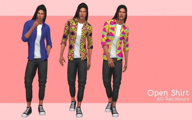 Sims 4 Open shirt recolors at Midnightskysims