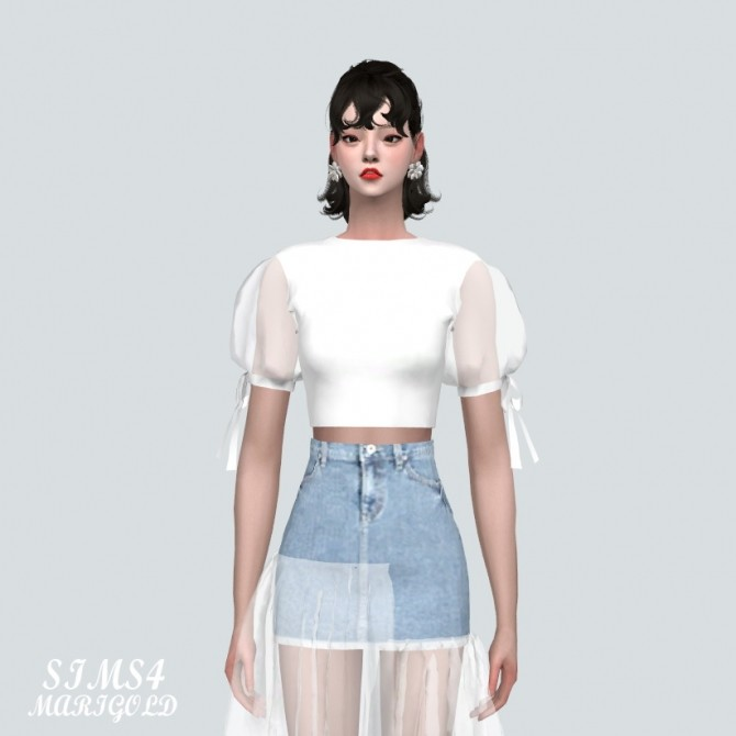 See through Puff Sleeves Crop Top at Marigold image 11120 670x670 Sims 4 Updates