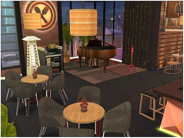 Sims 4 Flame Night Restaurant by lotsbymanal at TSR