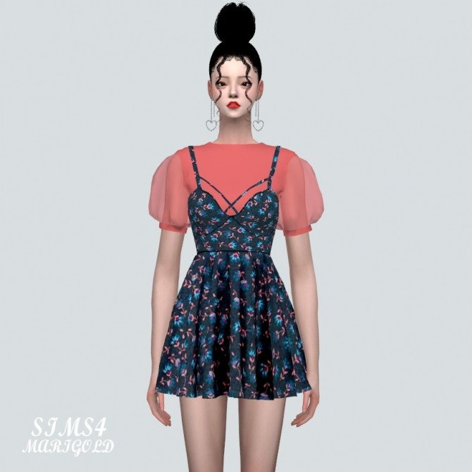 See through Puff Sleeves Bustier Mini Dress Pattern V at Marigold image 11217 670x670 Sims 4 Updates