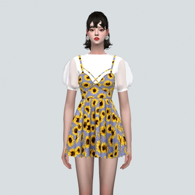 See through Puff Sleeves Bustier Mini Dress Pattern V at Marigold image 11316 670x670 Sims 4 Updates