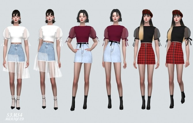 See through Puff Sleeves Crop Top at Marigold image 11317 670x428 Sims 4 Updates
