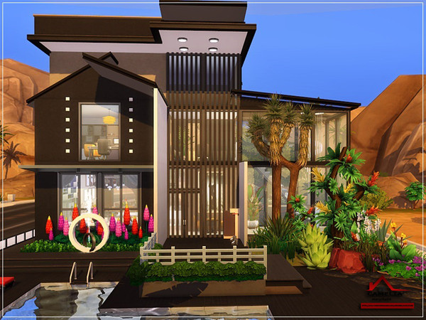 Sims 4 CAMELIA modern house NO CC by marychabb at TSR