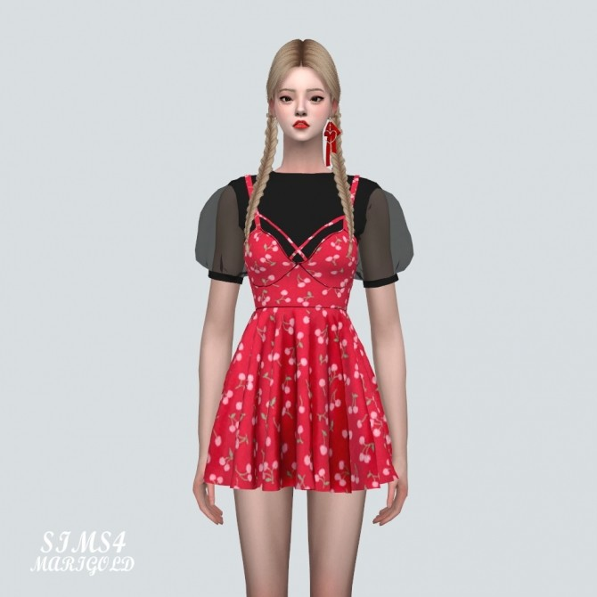 See through Puff Sleeves Bustier Mini Dress Pattern V at Marigold image 11415 670x670 Sims 4 Updates