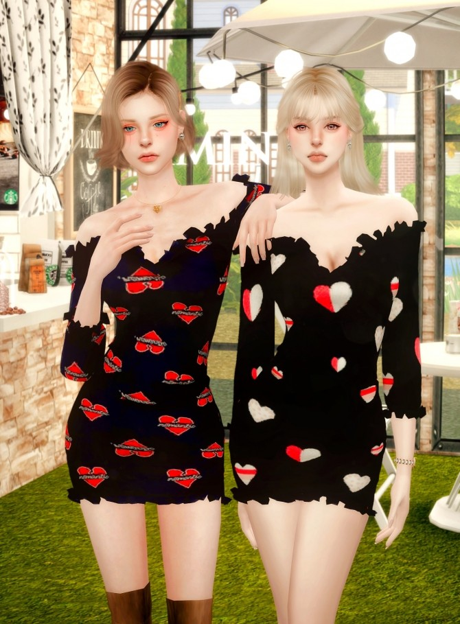 Sims 4 Off The Shoulder Frill Dress at RIMINGs