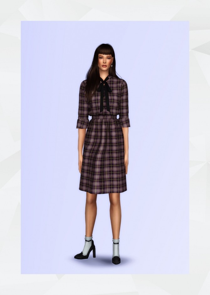 Sims 4 Bow Tie Neck Dress at Gorilla