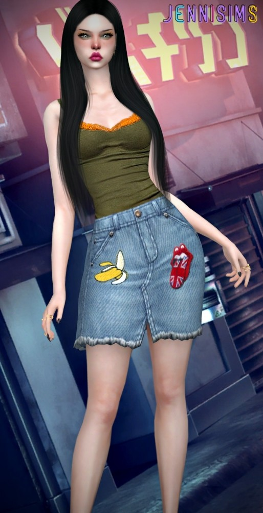 BG Denim Skirt at Jenni Sims image 1158 514x1000 Sims 4 Updates