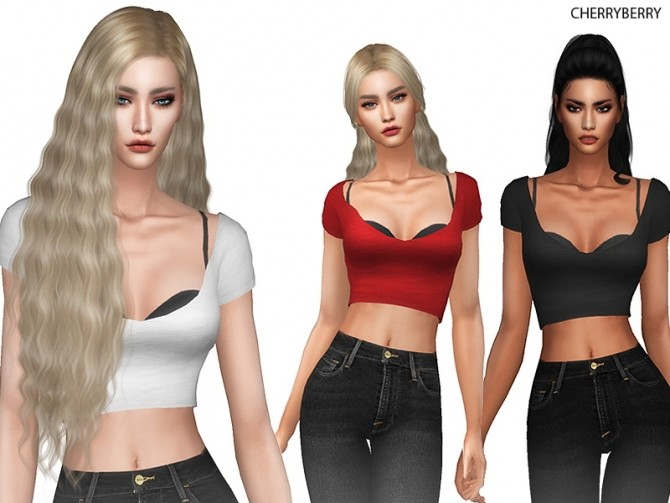 Sims 4 Loose Crop Top at Cherryberry