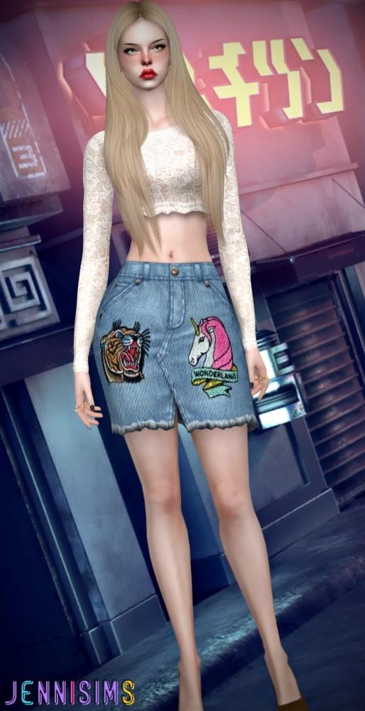 BG Denim Skirt at Jenni Sims image 1169 514x1000 Sims 4 Updates