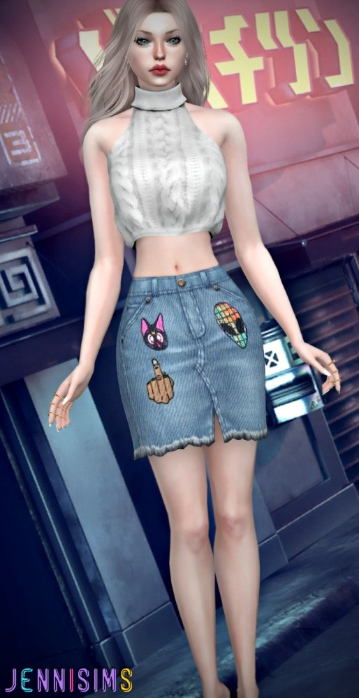 BG Denim Skirt at Jenni Sims image 1179 514x1000 Sims 4 Updates