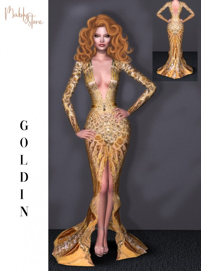 Sims 4 GOLDIN GOWN at Mably Store
