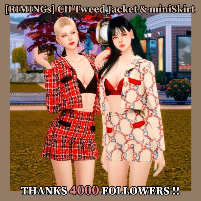 Sims 4 Tweed jacket & mini skirt at RIMINGs