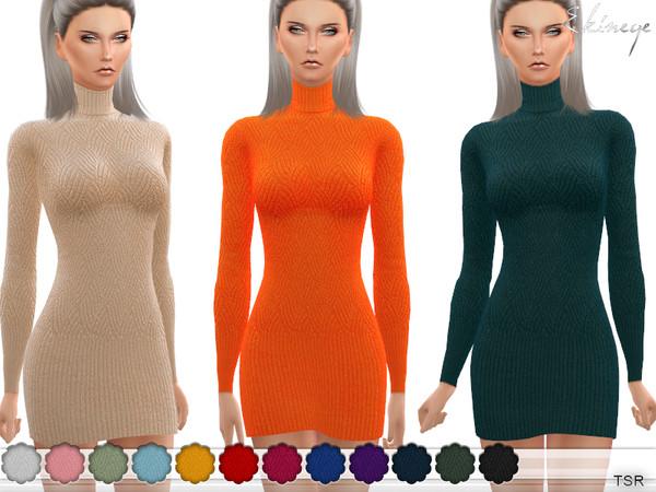Turtleneck Sweater Dress by ekinege at TSR image 12114 Sims 4 Updates