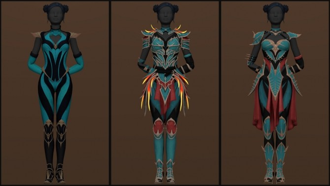 Sims 4 Kitana Outfits & Accessories Pack (Remaster) at Astya96
