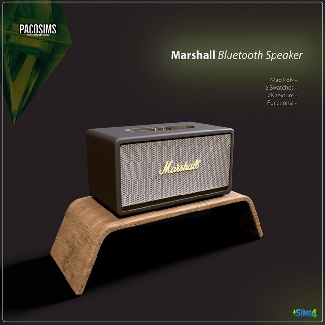 Sims 4 Aigle Desk Marshall Bluetooth Speaker (P) at Paco Sims