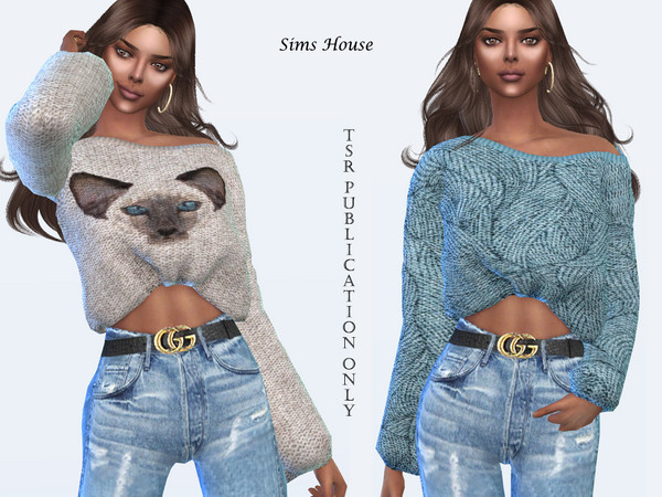 Womens Open Shoulder Print Sweater by Sims House at TSR image 12510 Sims 4 Updates