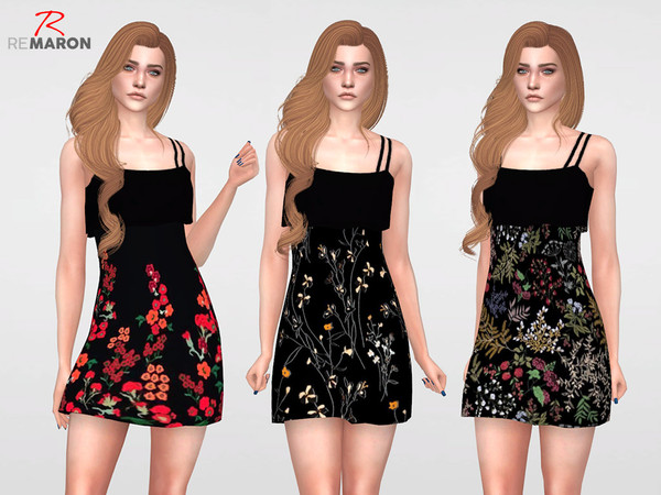 Floral Dress for Women 07 by remaron at TSR image 1260 Sims 4 Updates