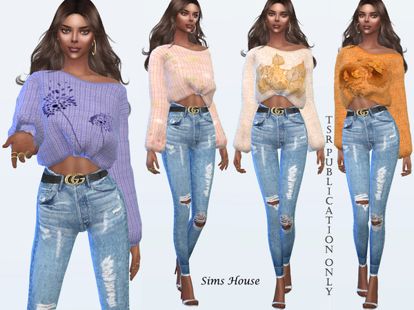 Womens Open Shoulder Print Sweater by Sims House at TSR image 1268 Sims 4 Updates