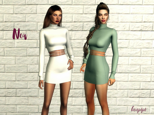 Sims 4 Nea long sleeve dress with a cut out by laupipi at TSR