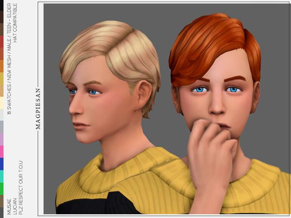 Sims 4 Lucian Hair by magpiesan at TSR
