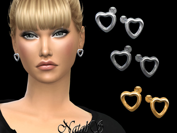 Sims 4 Open heart stud earrings by NataliS at TSR