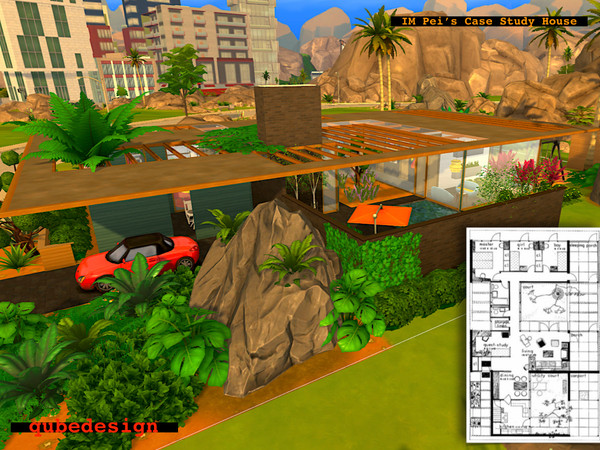 Sims 4 IM Peis 1945 Case Study House by QubeDesign at TSR