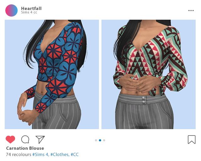 Sims 4 Carnation dress & blouse recolors at Heartfall