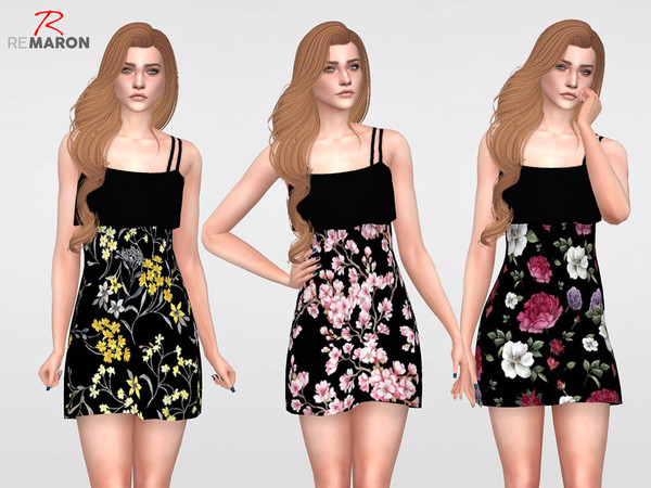 Floral Dress for Women 07 by remaron at TSR image 1340 Sims 4 Updates