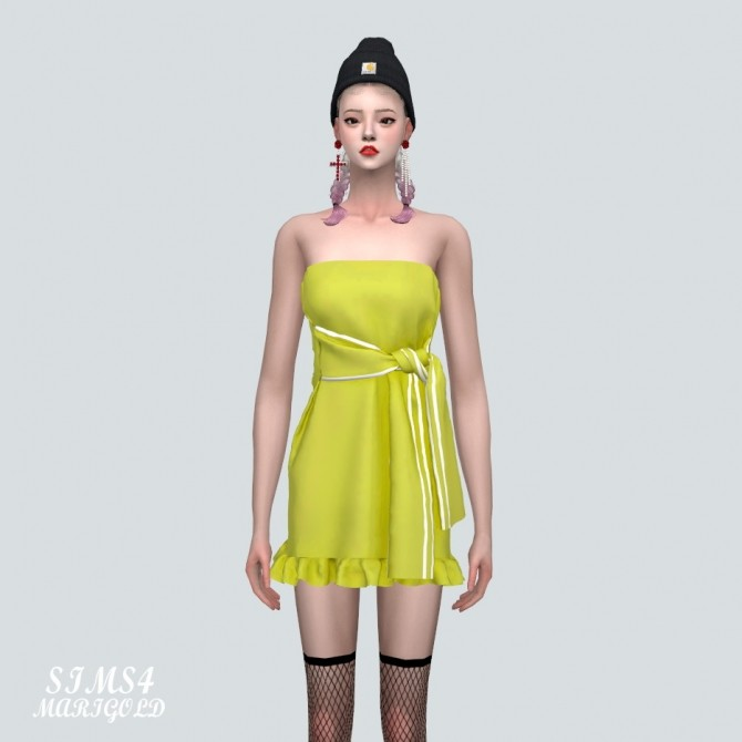 Sims 4 Tied Sporty Tube Top Mini Dress at Marigold