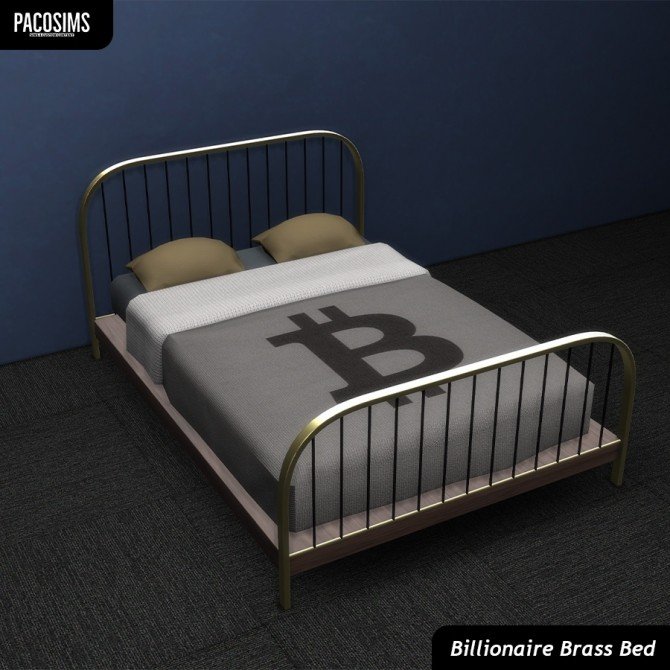 Sims 4 Billionaire Brass Bed (P) at Paco Sims